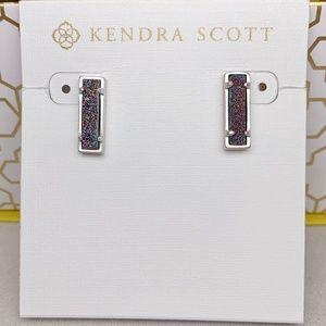 New Kendra Scott Silver Multicolor Drusy Lady Stud